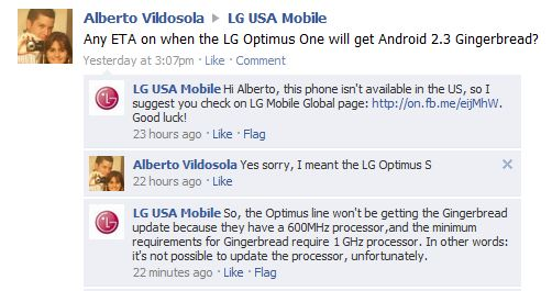 LG responds to a customer.
