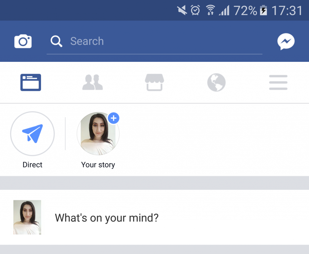 Facebook Stories will appear at the top of your feed as shown above