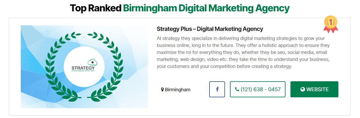 Strategy Plus' #1 listing for digital marketing agencies in Birmingham on Wimgo